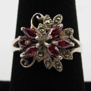 Vintage Size 7.75 Sterling Red CZ & Marcasite Ring